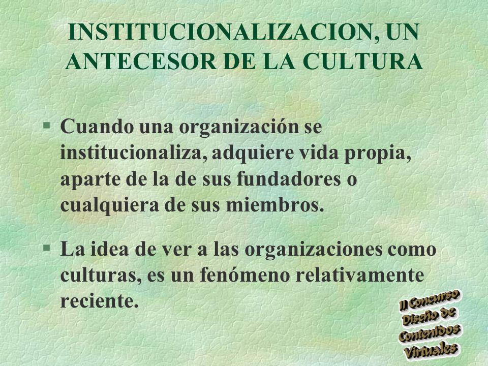 INSTITUCIONALIZACION, UN ANTECESOR DE LA CULTURA