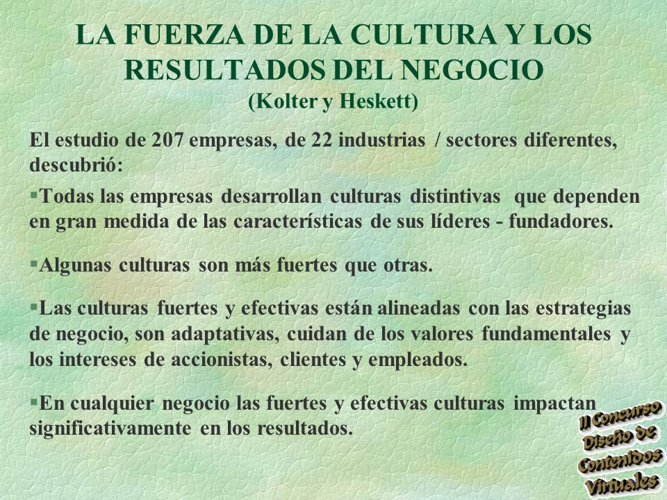 LA FUERZA DE LA CULTURA Y LOS RESULTADOS DEL NEGOCIO (Kolter y Heskett)