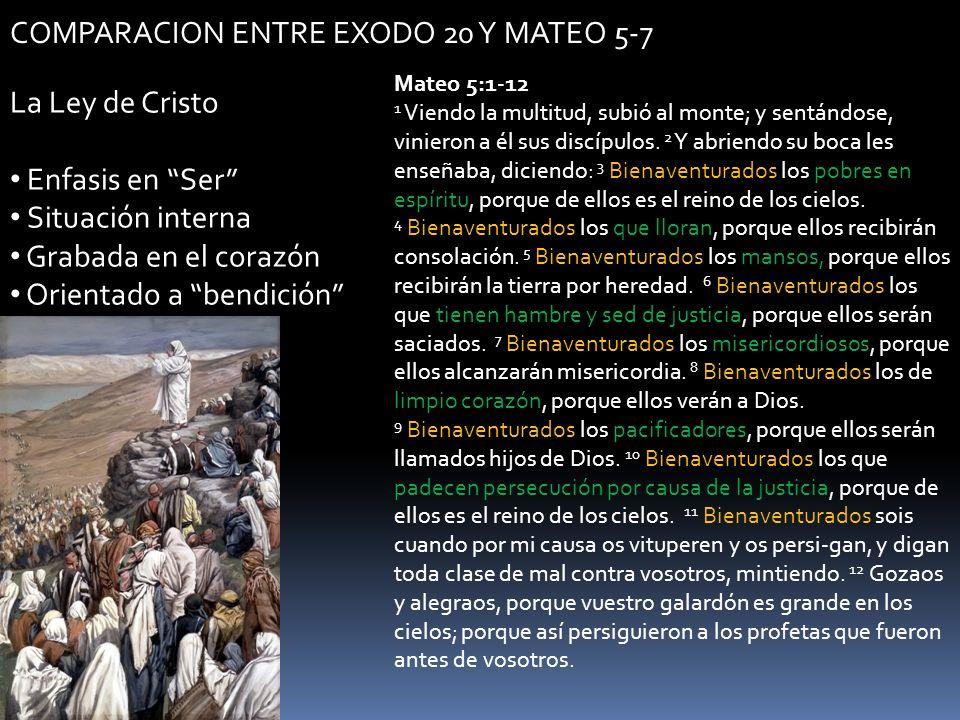 COMPARACION ENTRE EXODO 20 Y MATEO 5-7