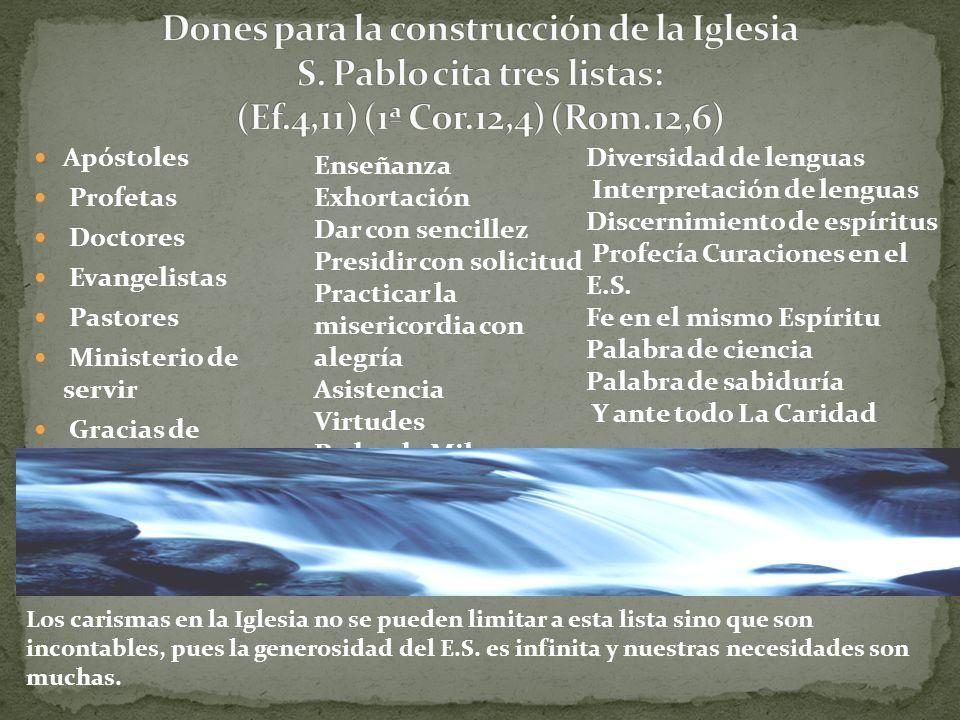 Dones para la construcción de la Iglesia S. Pablo cita tres listas: (Ef.4,11) (1ª Cor.12,4) (Rom.12,6)