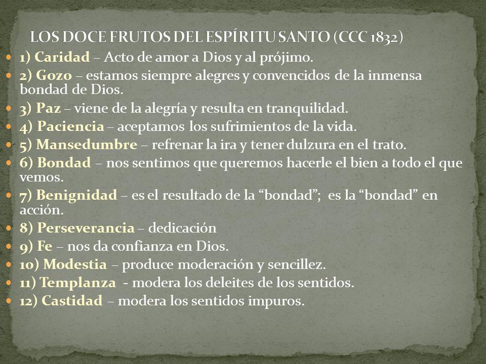 LOS DOCE FRUTOS DEL ESPÍRITU SANTO (CCC 1832)