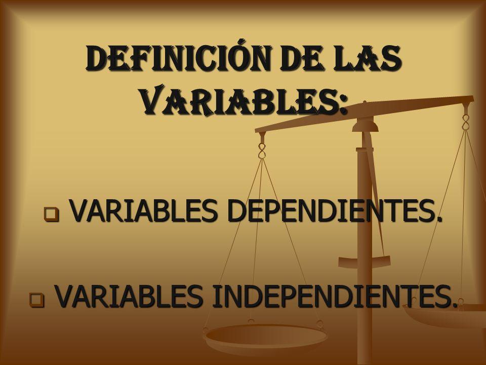 DEFINICIÓN DE LAS VARIABLES: