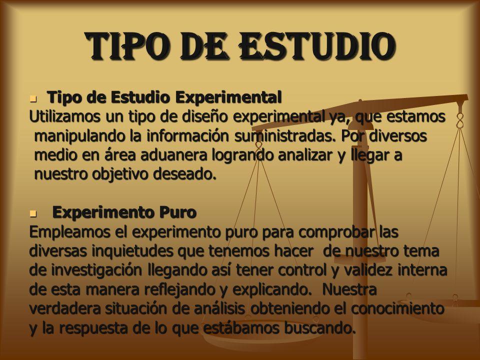 TIPO DE ESTUDIO Tipo de Estudio Experimental