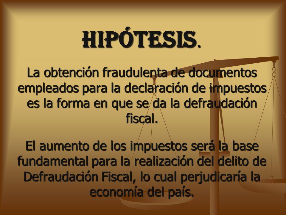 HIPÓTESIS. La obtención fraudulenta de documentos empleados para la declaración de impuestos es la forma en que se da la defraudación fiscal.