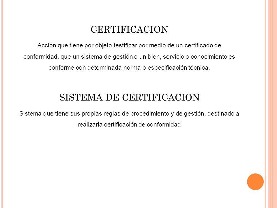 SISTEMA DE CERTIFICACION
