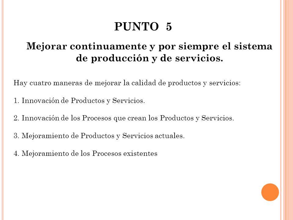 PUNTO 5 Mejorar continuamente y por siempre el sistema de producción y de servicios.