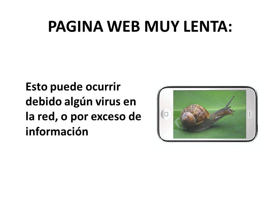 PAGINA WEB MUY LENTA: Esto puede ocurrir debido algún virus en la red, o por exceso de información