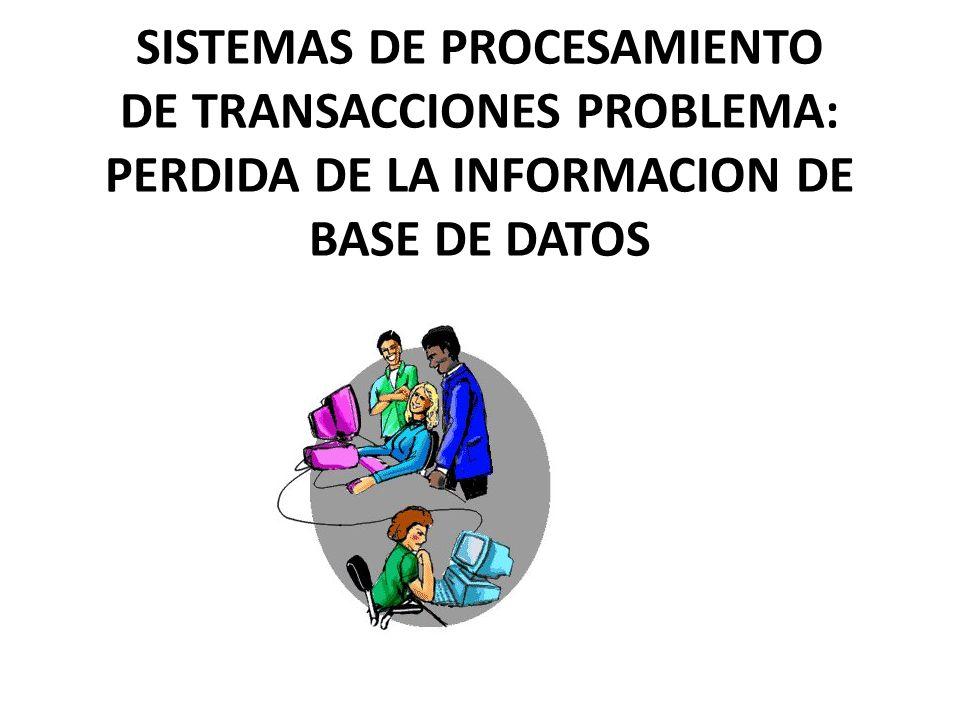 SISTEMAS DE PROCESAMIENTO DE TRANSACCIONES PROBLEMA: PERDIDA DE LA INFORMACION DE BASE DE DATOS