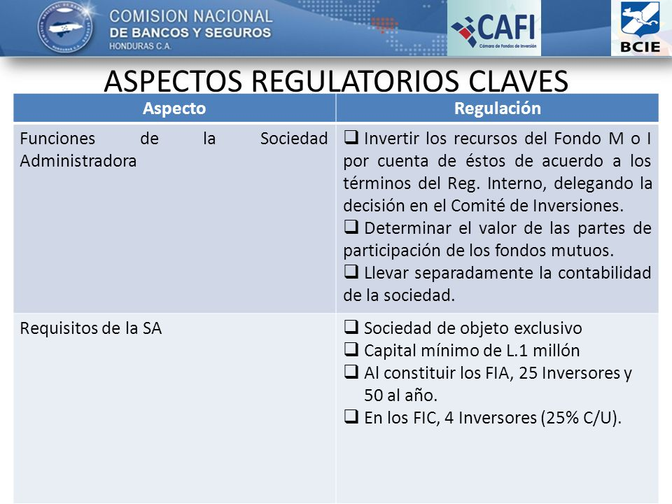 ASPECTOS REGULATORIOS CLAVES