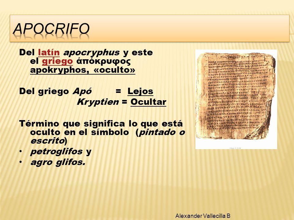 APOCRIFO Del latín apocryphus y este el griego άπόκρυφος apokryphos, «oculto» Del griego Apó = Lejos.