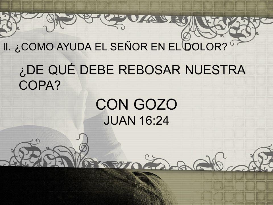 CON GOZO ¿DE QUÉ DEBE REBOSAR NUESTRA COPA JUAN 16:24