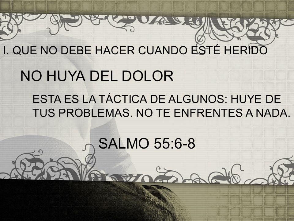 NO HUYA DEL DOLOR SALMO 55:6-8 I. QUE NO DEBE HACER CUANDO ESTÉ HERIDO
