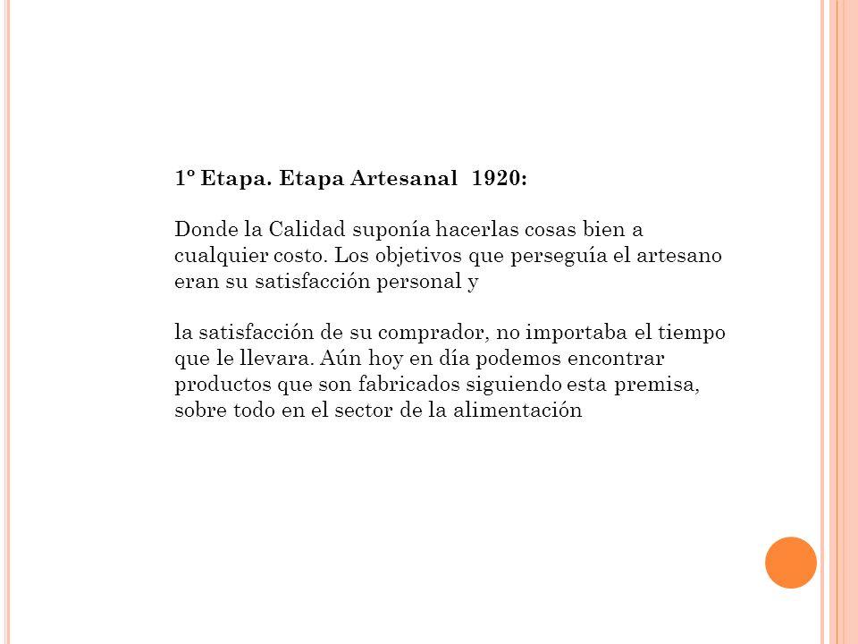 1º Etapa. Etapa Artesanal 1920:
