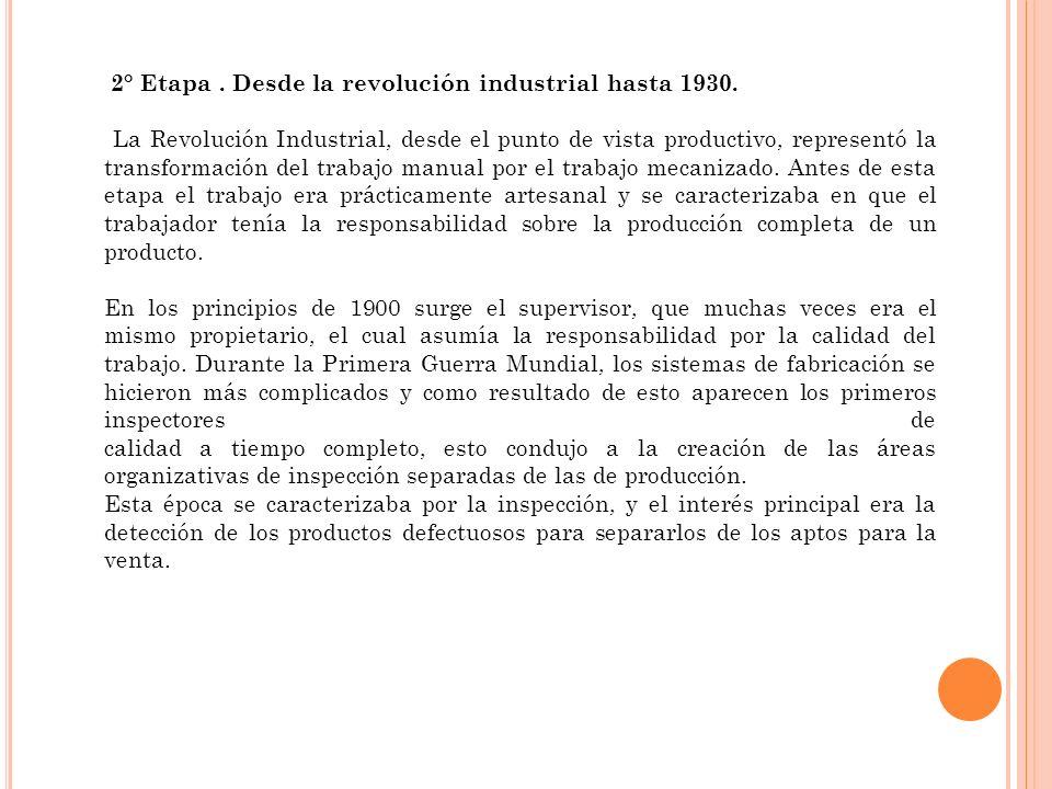 2° Etapa . Desde la revolución industrial hasta 1930.