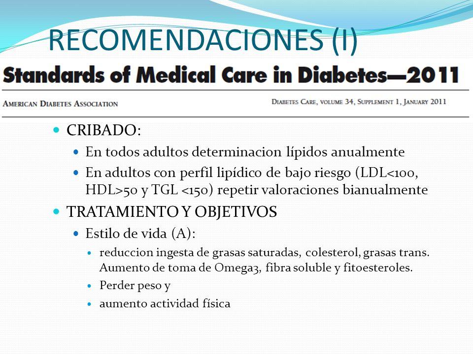RECOMENDACIONES (I) CRIBADO: TRATAMIENTO Y OBJETIVOS