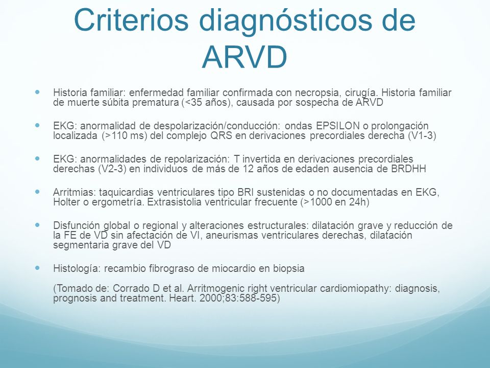 Criterios diagnósticos de ARVD