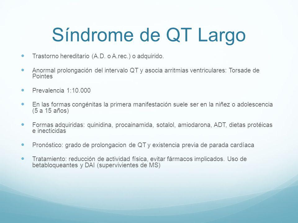 Síndrome de QT Largo Trastorno hereditario (A.D. o A.rec.) o adquirido.