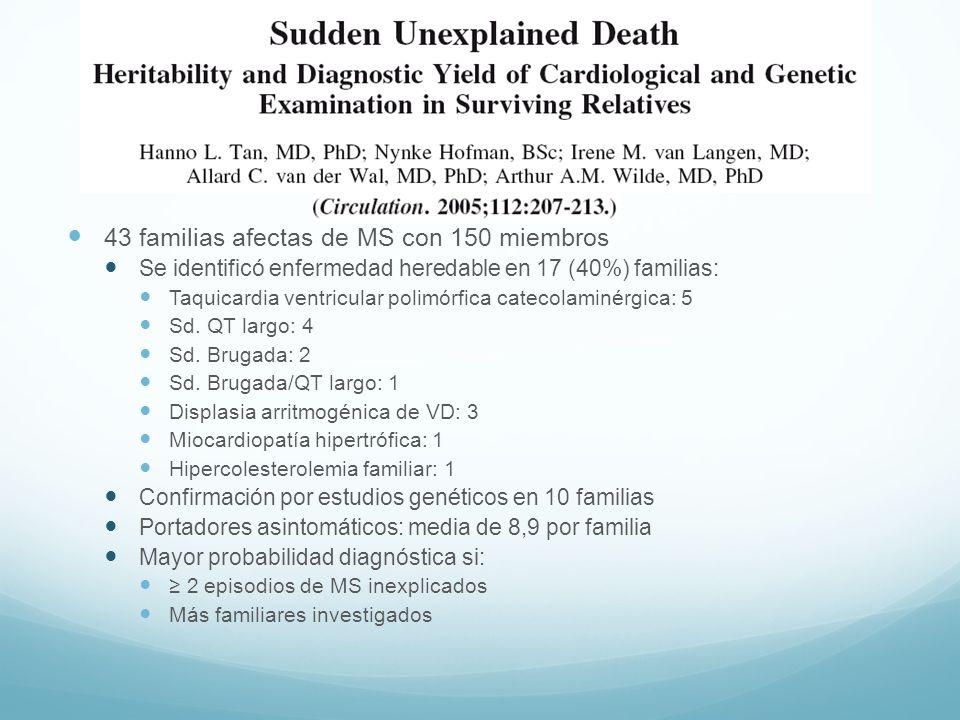 43 familias afectas de MS con 150 miembros