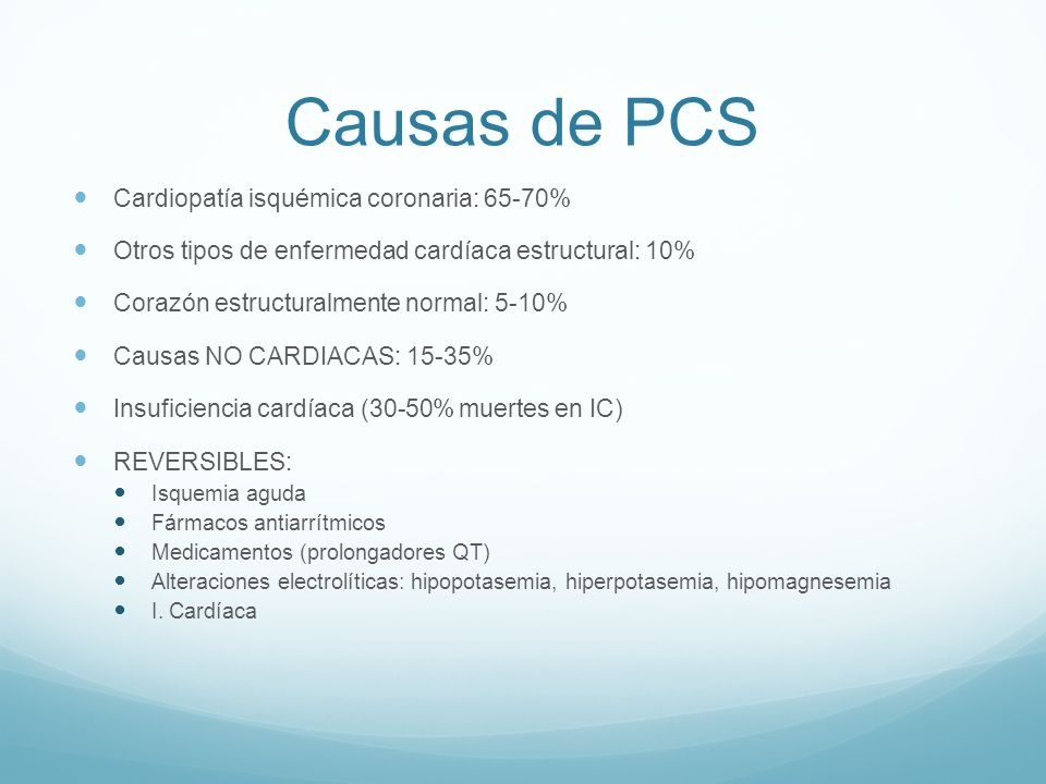 Causas de PCS Cardiopatía isquémica coronaria: 65-70%