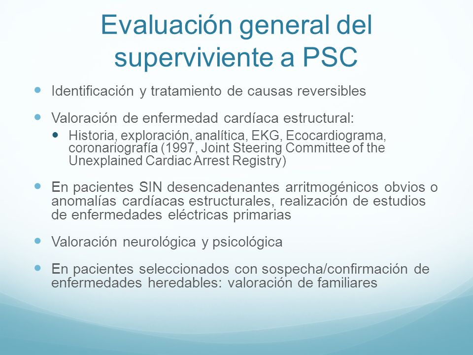 Evaluación general del superviviente a PSC