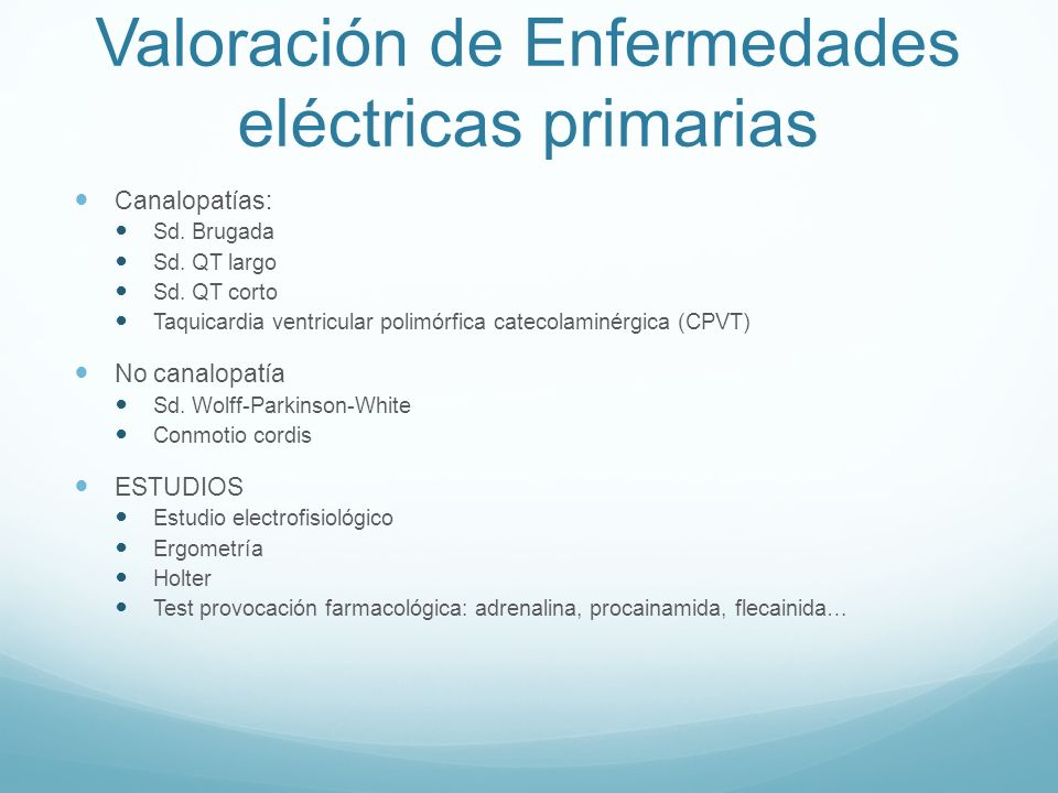 Valoración de Enfermedades eléctricas primarias
