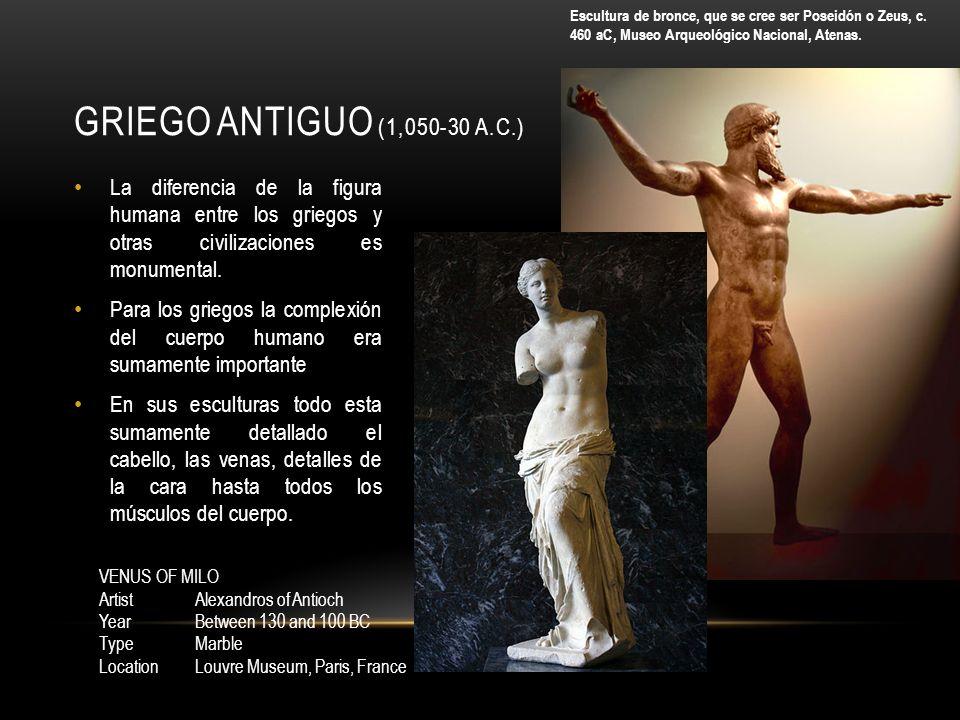 Escultura de bronce, que se cree ser Poseidón o Zeus, c