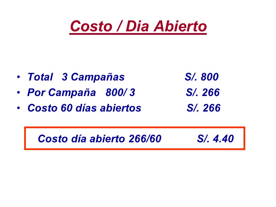 Costo / Dia Abierto Total 3 Campañas S/. 800