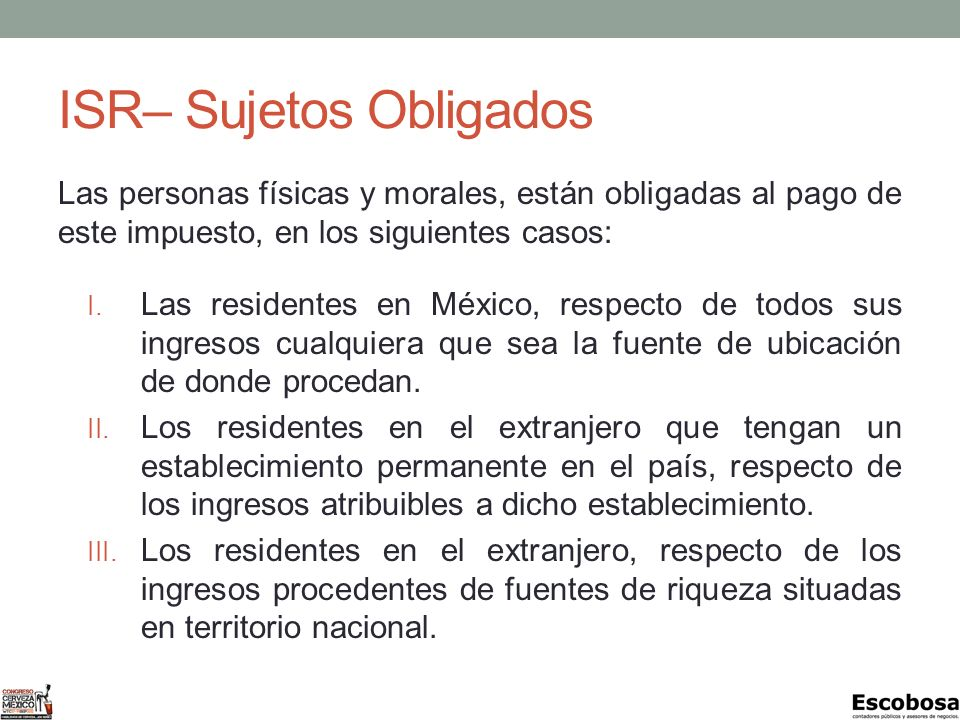 ISR– Sujetos Obligados
