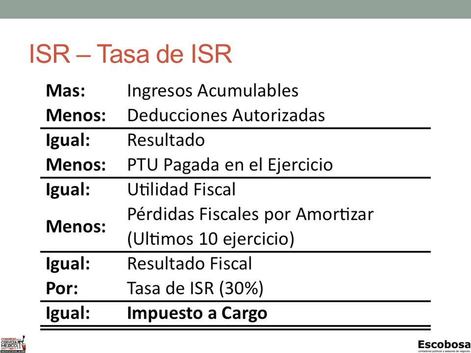 ISR – Tasa de ISR