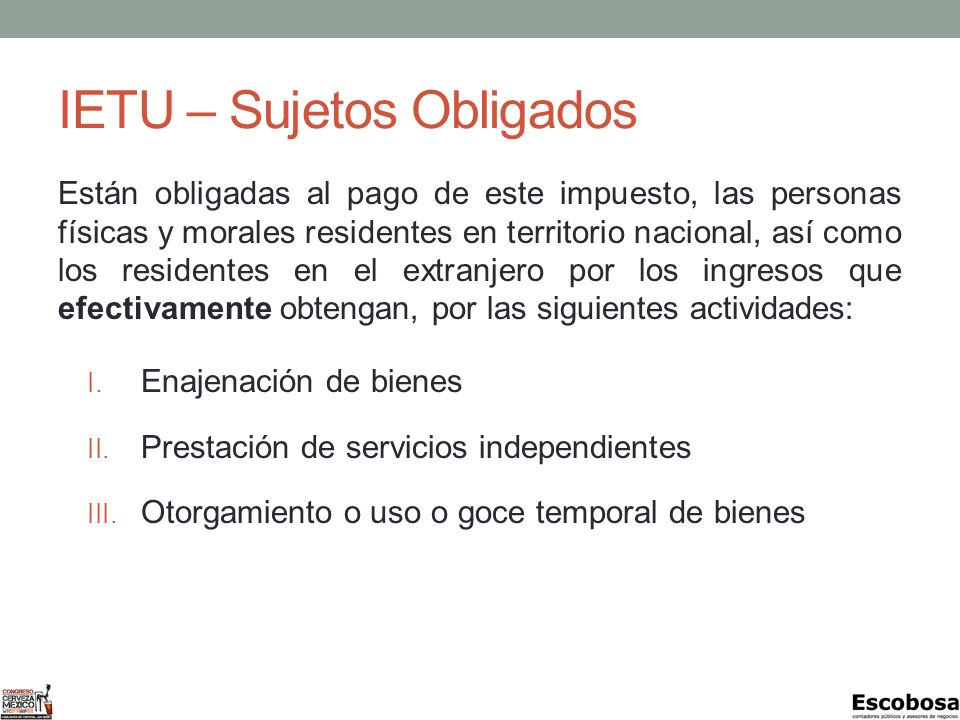 IETU – Sujetos Obligados