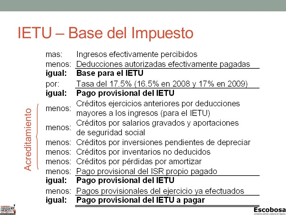 IETU – Base del Impuesto