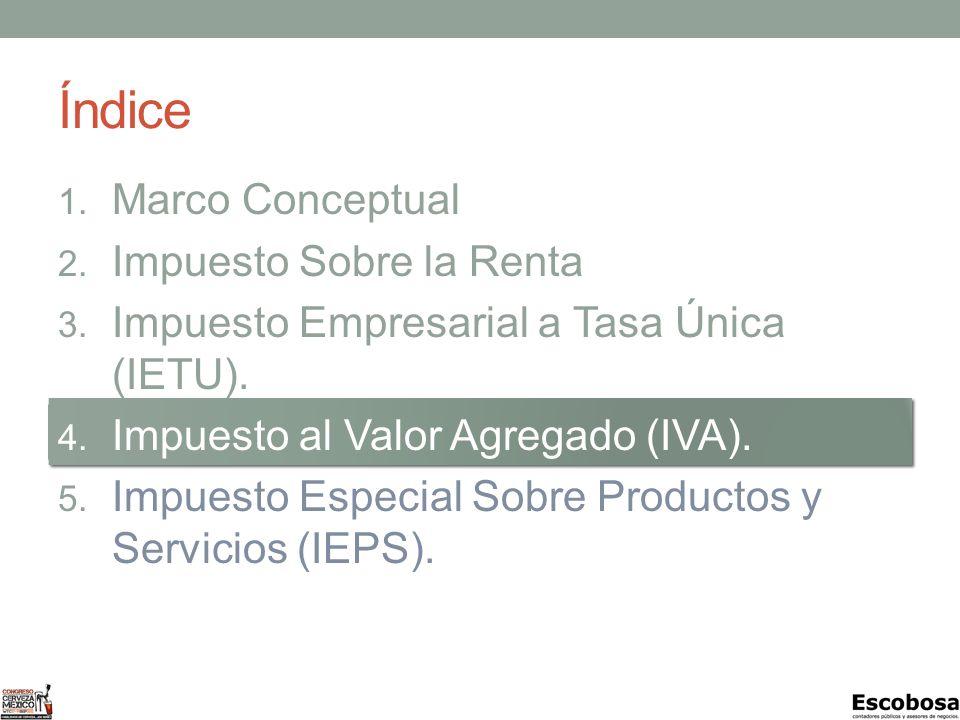 Índice Marco Conceptual Impuesto Sobre la Renta (ISR).