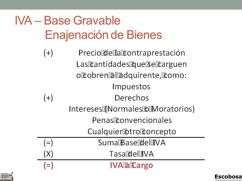 IVA – Base Gravable Enajenación de Bienes