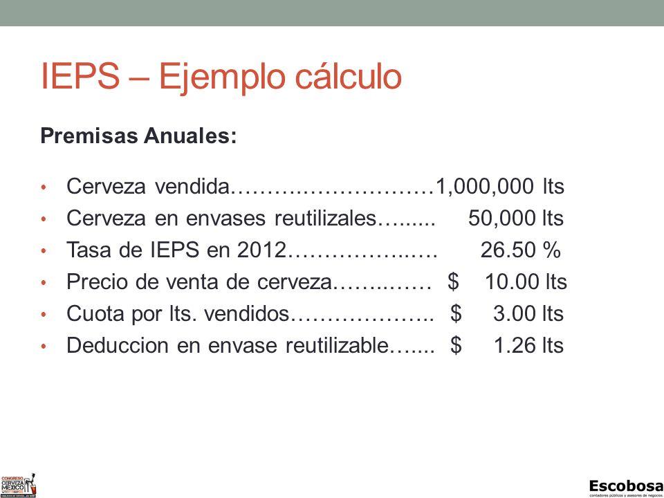 IEPS – Ejemplo cálculo Premisas Anuales: