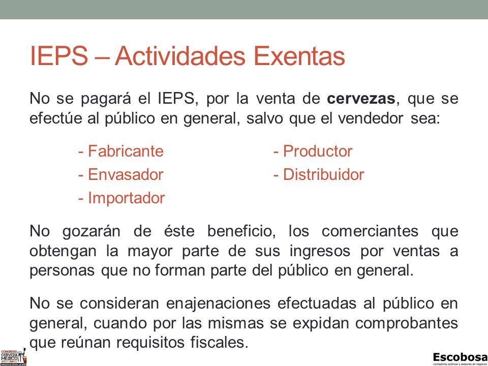 IEPS – Actividades Exentas