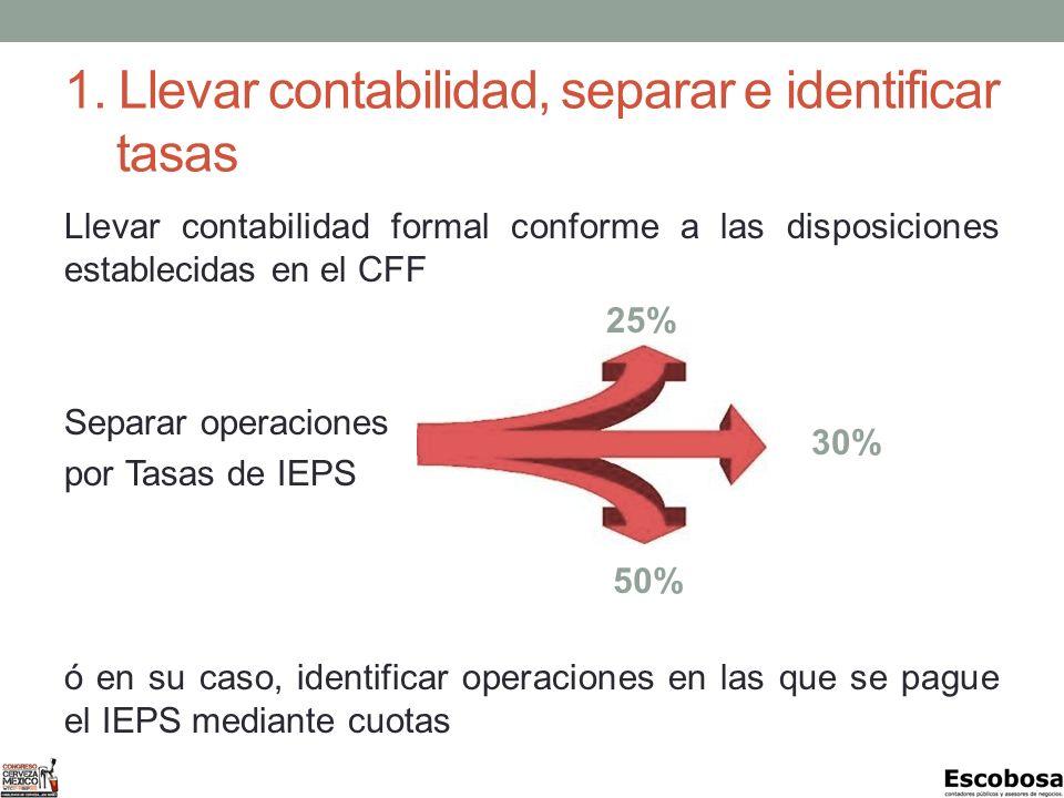 1. Llevar contabilidad, separar e identificar tasas