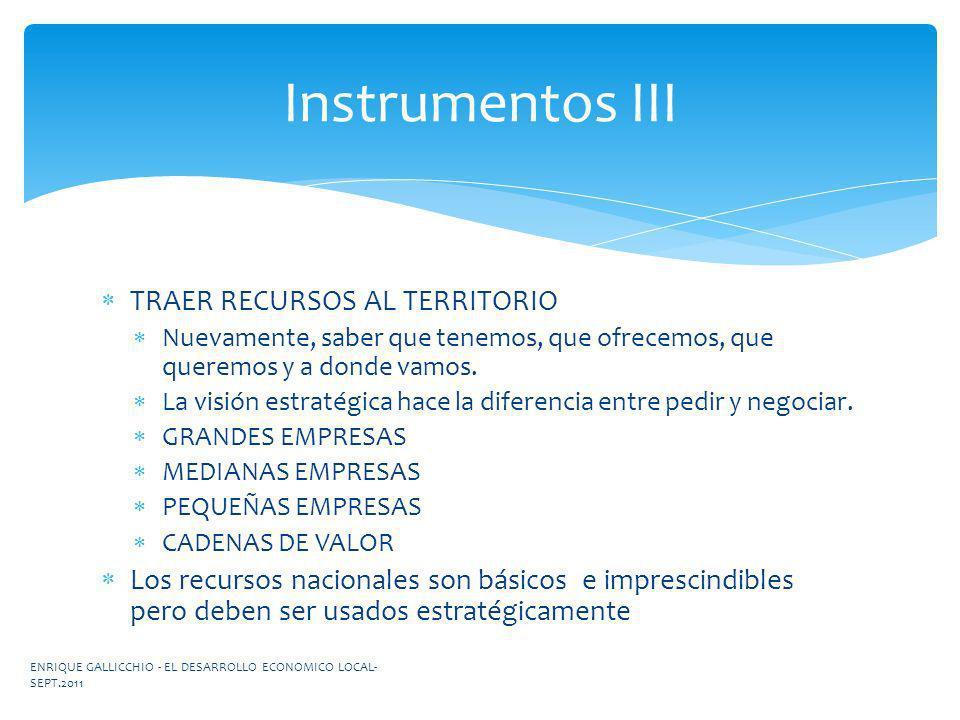 Instrumentos III TRAER RECURSOS AL TERRITORIO
