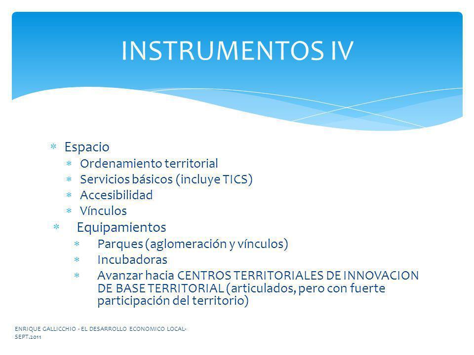 INSTRUMENTOS IV Espacio Equipamientos Ordenamiento territorial
