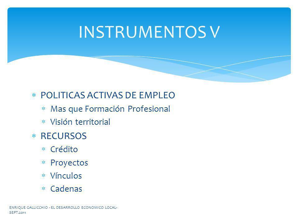 INSTRUMENTOS V POLITICAS ACTIVAS DE EMPLEO RECURSOS