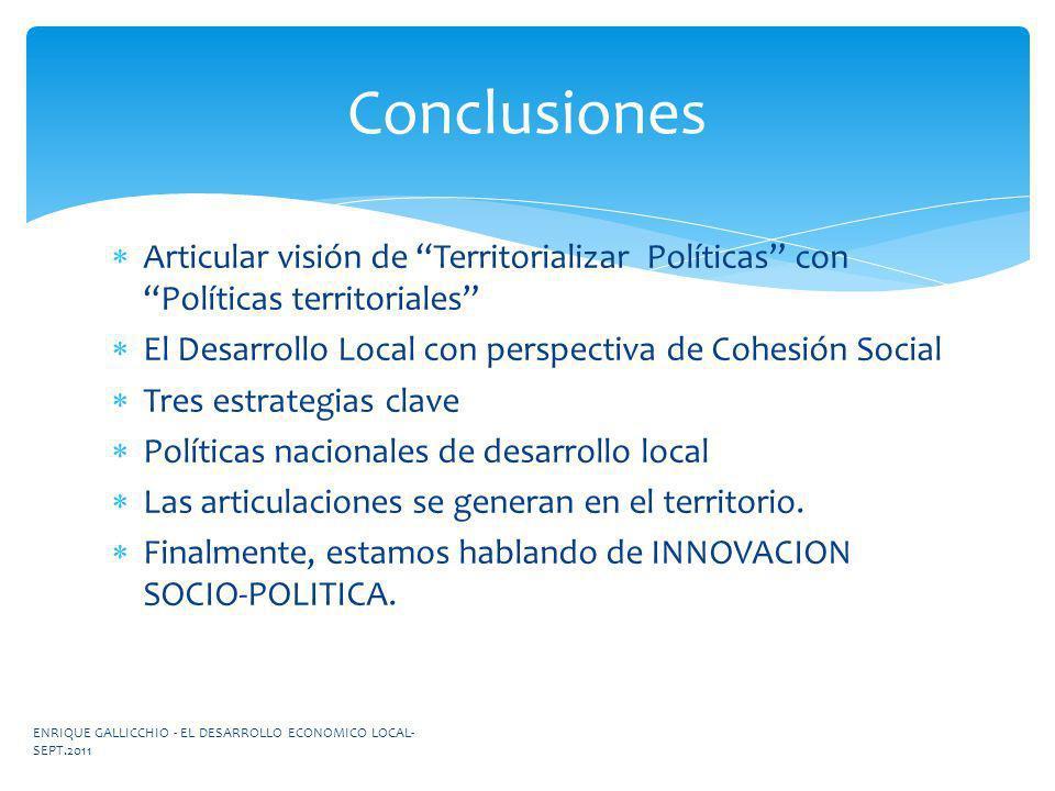 Conclusiones Articular visión de Territorializar Políticas con Políticas territoriales El Desarrollo Local con perspectiva de Cohesión Social.