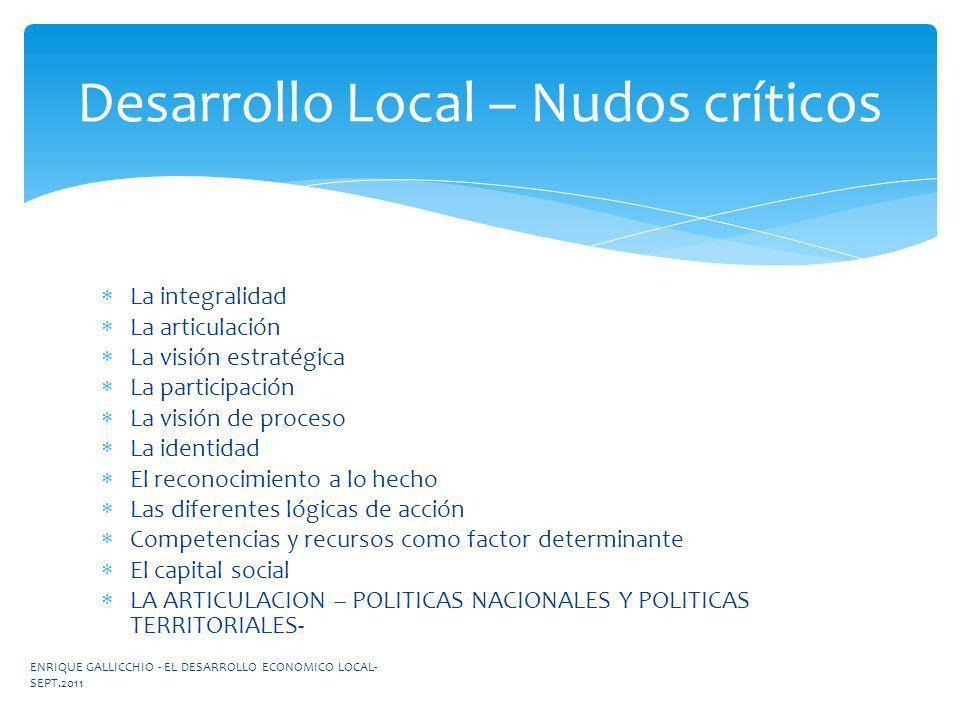 Desarrollo Local – Nudos críticos