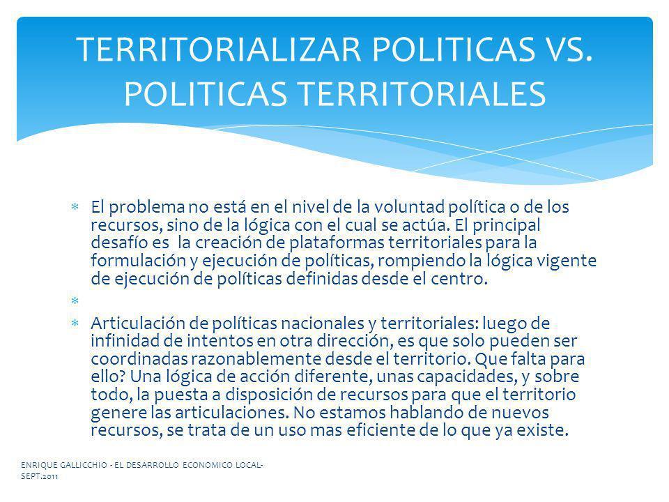 TERRITORIALIZAR POLITICAS VS. POLITICAS TERRITORIALES