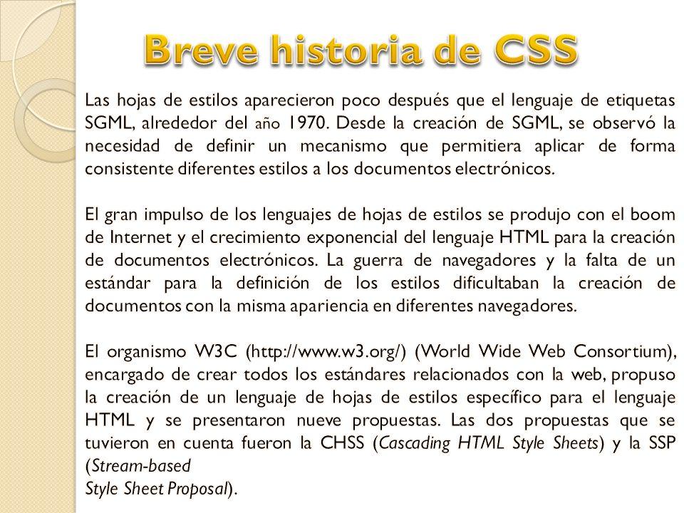 Breve historia de CSS