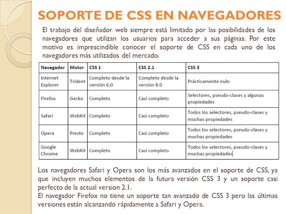 SOPORTE DE CSS EN NAVEGADORES