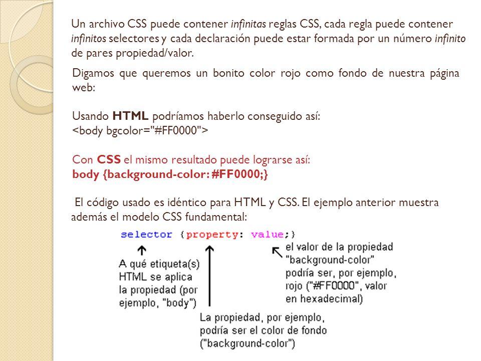 Un archivo CSS puede contener infinitas reglas CSS, cada regla puede contener infinitos selectores y cada declaración puede estar formada por un número infinito de pares propiedad/valor.
