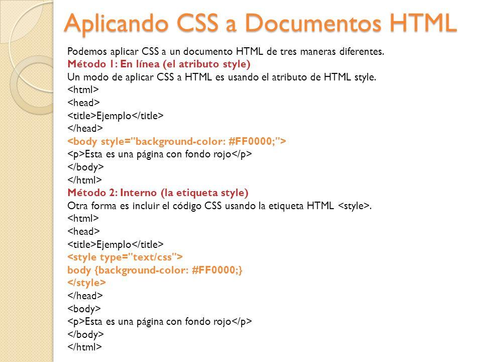 Aplicando CSS a Documentos HTML