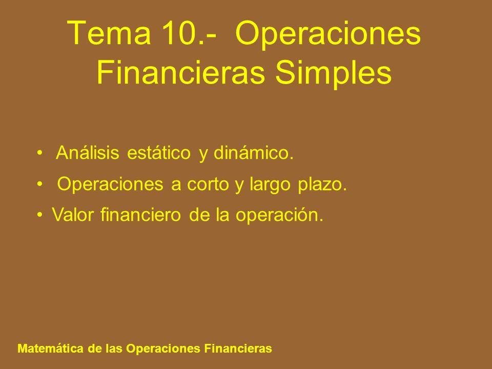 Tema 10.- Operaciones Financieras Simples