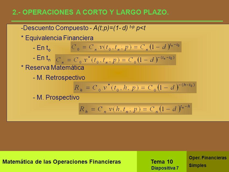 2.- OPERACIONES A CORTO Y LARGO PLAZO.