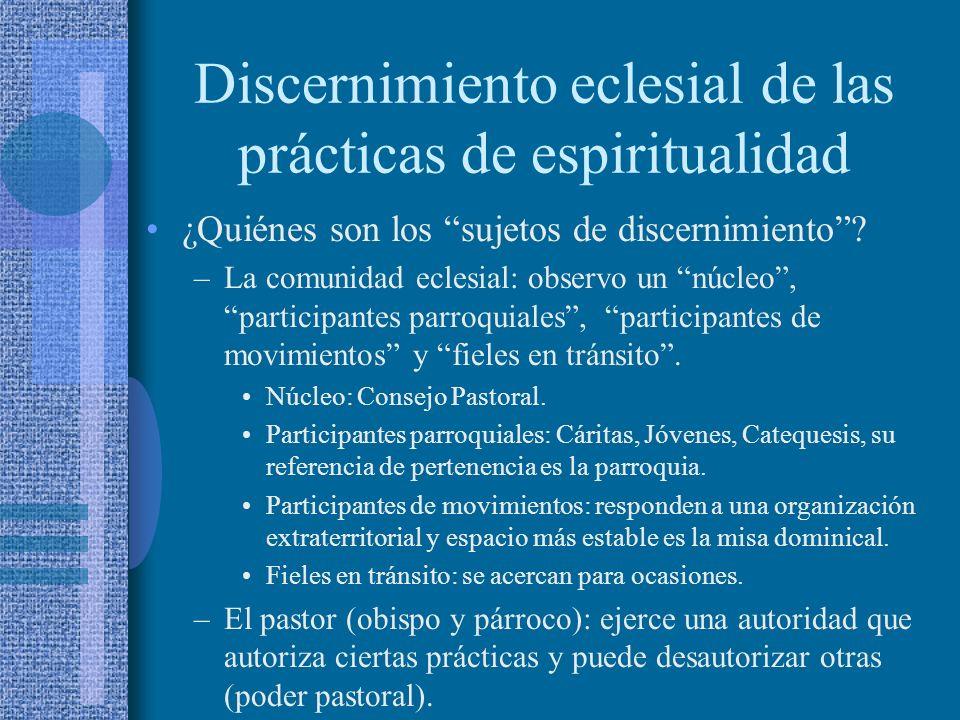 Discernimiento eclesial de las prácticas de espiritualidad