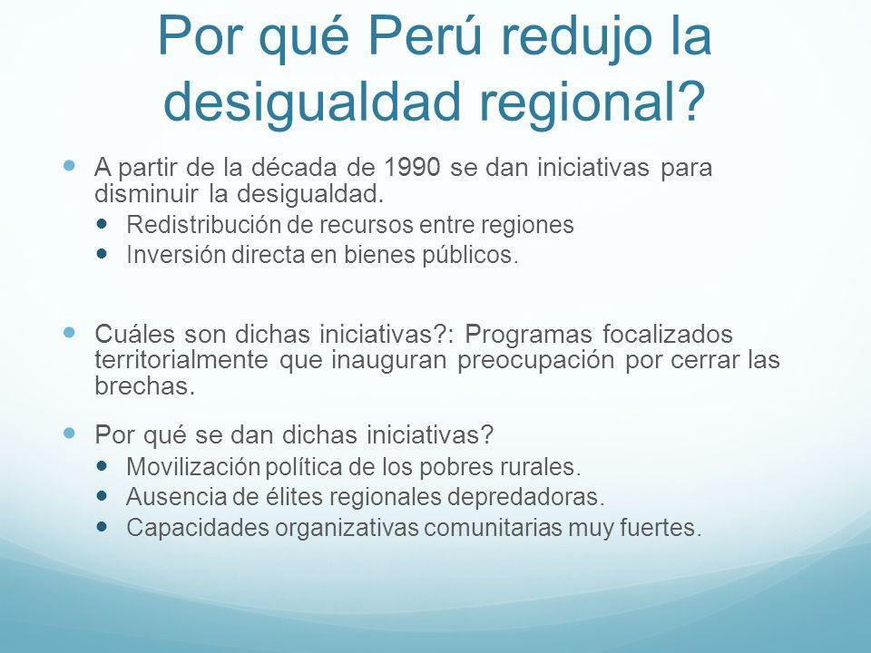 Por qué Perú redujo la desigualdad regional